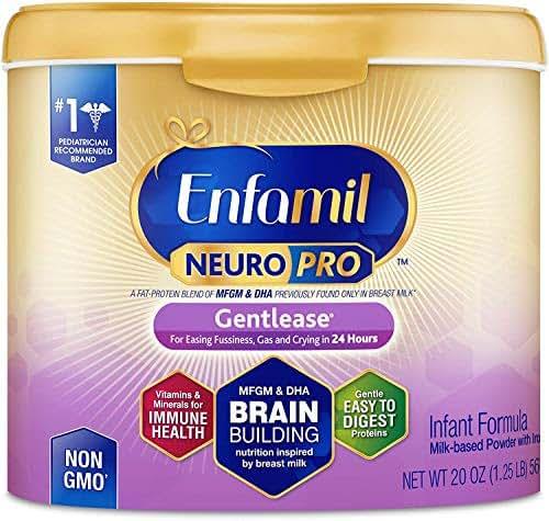 Enfamil NeuroPro Gentlease Infant Formula - Brain Building Nutrition Inspired by Breast Milk - Powder Can, 20 oz
