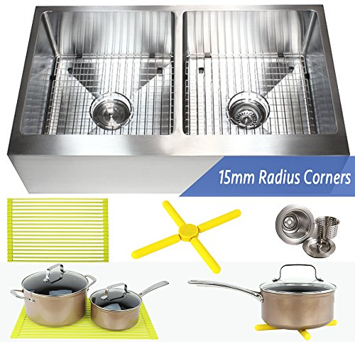 Ariel 36 Inch Farmhouse Apron Front Stainless Steel Kitchen Sink Package - 16 Gauge Flat Front Double Bowl Basin - Complete Sink Pack + Bonus Kitchen Accessories - Home Improvement & Renovation (Package Stainless Sink)