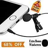 Christmas Deal Lavalier Microphone Clip-on Omnidirectional Condenser Lapel Mic for Apple IPhone Android & Windows Smartphones Youtube Interview Karaoke Studio Video Recording Noise Cancelling Mic