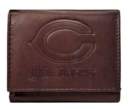 Rico Chicago Bears NFL Embossed Logo Dark Brown Leather Trifold - Bears Leather Fold Tri Chicago Wallet