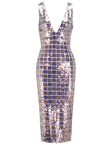 UONBOX Women's Sexy Deep V Neck Sequin Glitter Bodycon Stretchy Midi Party Dress (Rainbow, (Glitter Party Dress)