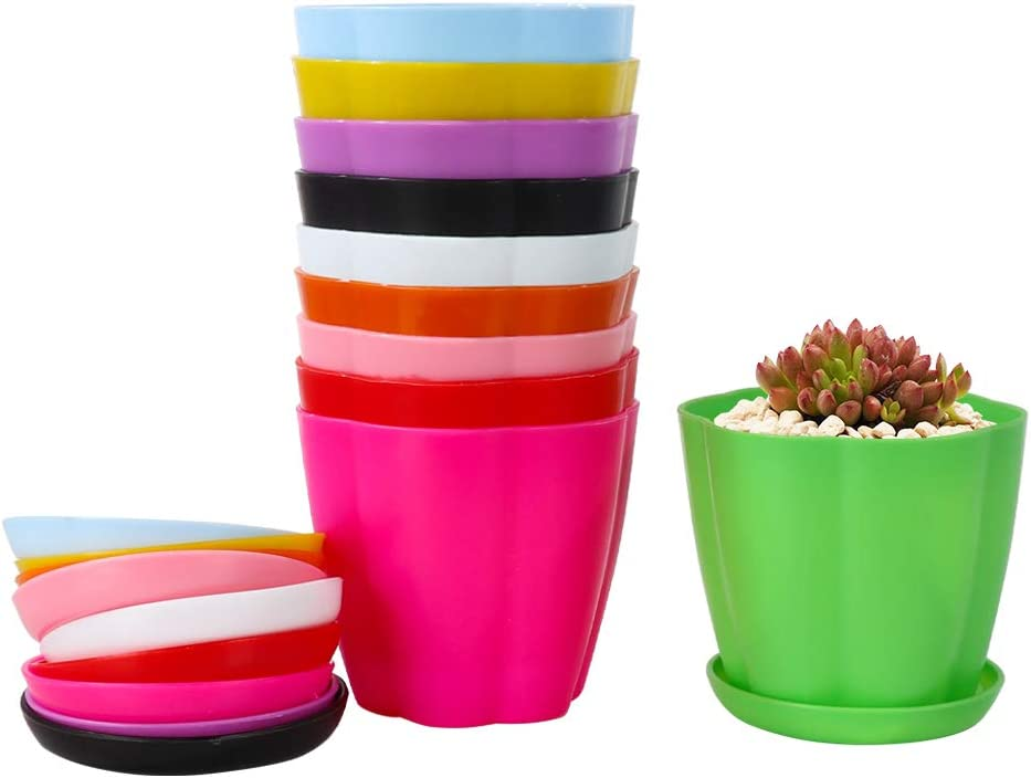 """Plastic Planters, Alotpower 3.5"""" Plant Pots Indoor Set of 10 Flower Pot Modern Decorative Garden Pot with Drainage and Saucer for All House Plants, Flowers, Herbs, Succulents, Hanging Plant(10 Colors)"""