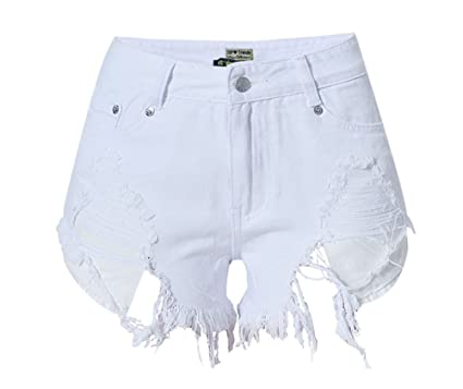 2f211371c8 Echoine Women s Frayed Cut Off Fringe Distressed High Waisted White ...