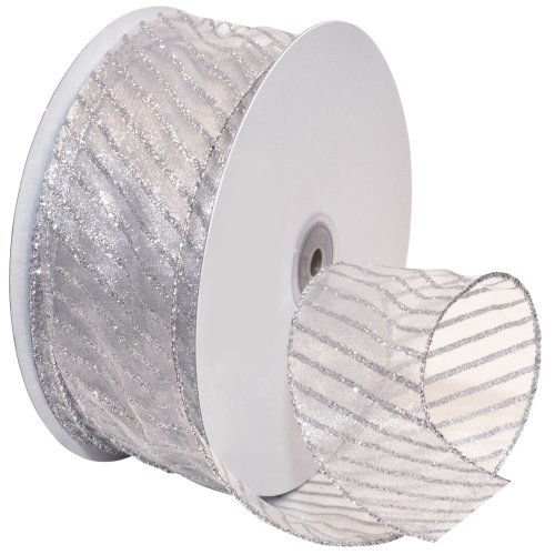 Morex Ribbon Striped Wired Sheer Glitter Organza Ribbon, 2-1/2-Inch by 50-Yard Spool, Multiple Colors - Glitter Wired Ribbon
