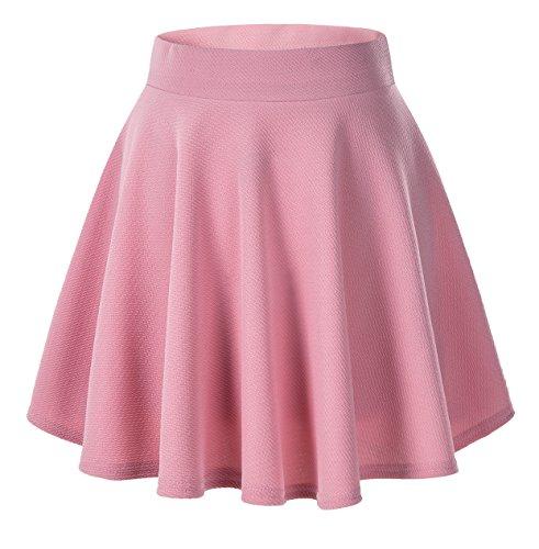 Urban CoCo Women's Basic Versatile Stretchy Flared Casual Mini Skater Skirt (M, Peach) (Womens Skirt Polyester)