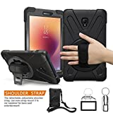 BRAECNstock Galaxy Tab A 8.0 2017 Case Three Layer Heavy Duty Soft Silicone Hard Bumper Case with 360 Degrees Rotatable Stand/Adjustable Handle Giap/Shoulder Strap for Tab A 8.0