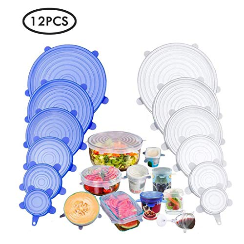 12pcs Reuseable Silicone Stretch Seal lids,BPA-Free Food Storage Covers Fit Various Shape of Containers, Dishes, Bowls, Safe in Dishwasher, Microwave and Freezer (12Pcs Silicone Seal Lids)