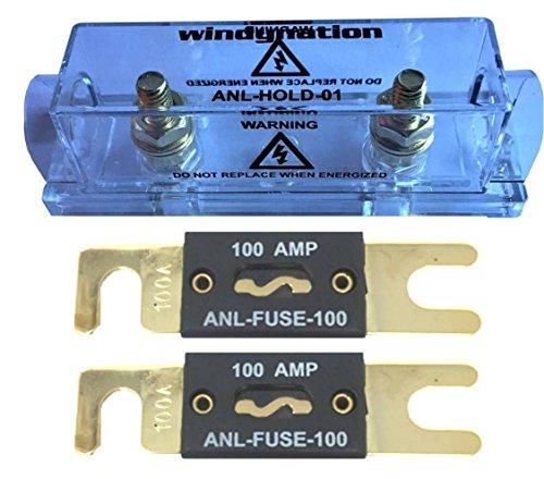 Fuse Amp 100 (WindyNation ANL Fuse Holder + ANL Fuse (2pcs 100A Fuse))