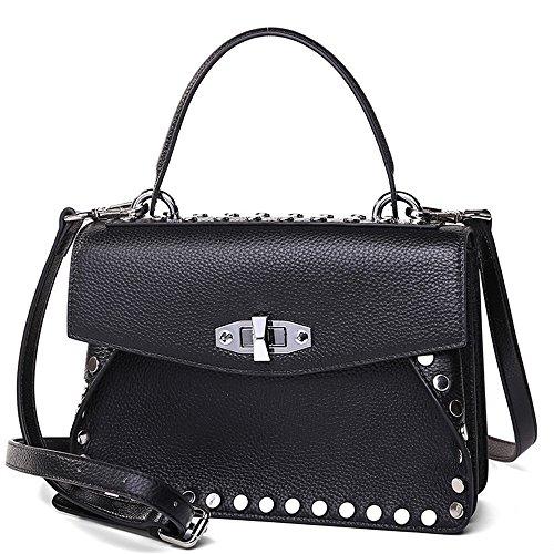 Inclinado Hombro Verde Solo Lady'S Handbag Black Moda Remache Nueva GWQGZ Span RBnz0PYx