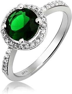 Bling Jewelry 3CT Vert Halo Solitaire CZ Bague de fiançailles en Argent Sterling 925