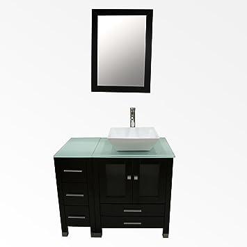 Amazoncom Walcut 36inch Wide Bathroom Vanity Single Vessel Sink W