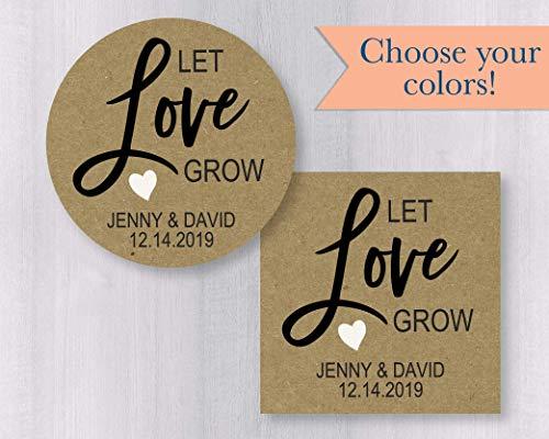 Let Love Grow Kraft Stickers, Personalized Wedding Favor Labels, Plant Favor Labors, Succulent Favor Labels (#128-KR)