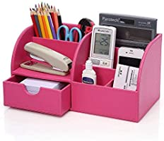 KINGFOM PU Leather Office Desk Organizer, 7 Compartments + Drawer Business Card/Pen/Pencil/Mobile Phone/Stationery...