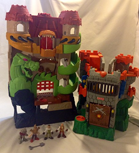 Fisher-Price Imaginext Castle Dragon World Fortress Playset w/ Sound and Great Adventures Castle Drawbridge Fold & Carry -