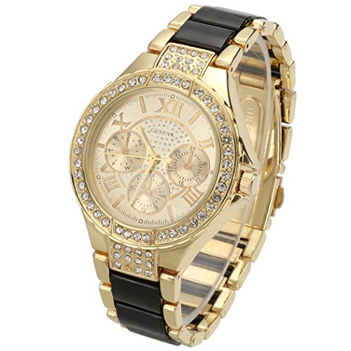 GESTORE Sale Women Round Bracelet Watch Ladies Gold Silver Designer Style Crystal - Designer Style Crystal