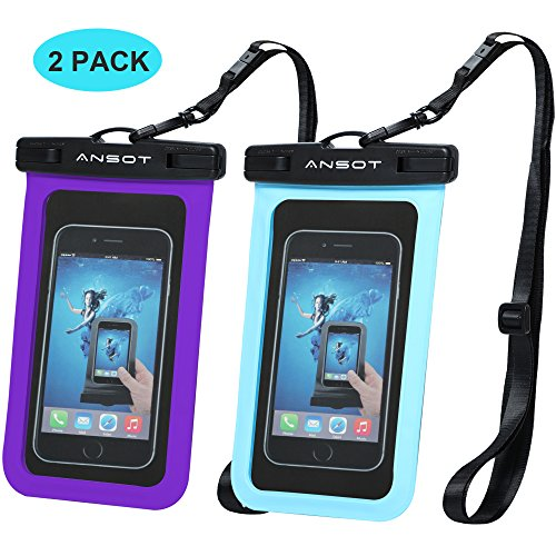 Universal Waterproof Case – Ansot IPX8 Waterproof Phone Pouch – Cellphone Dry Bag for iPhone X/8/ 8plus/7/7plus/6s/6/6s plus Samsung galaxy s8/s7 Google Pixel 2 HTC LG Sony MOTO up to 7.0″ — 2 PACK