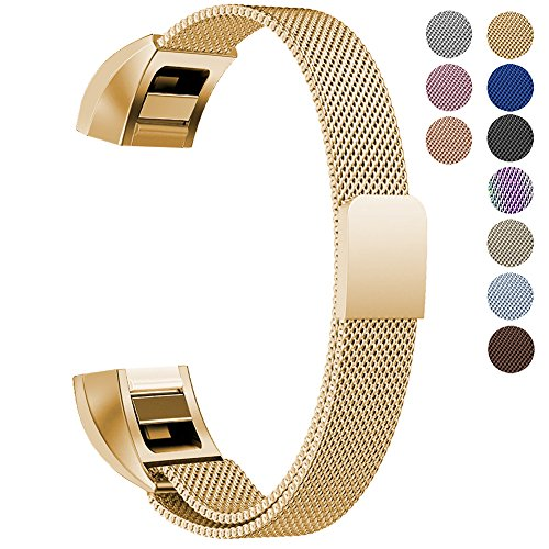 "Oitom For Fitbit Alta HR Accessory Band and For Fitbit alta Band, (2 Size) Large 6.7""-9.3"" Small 5.1""-6.7"" (8 Color) Silver Black Rose Gold Pink Blue Brown Rainbow(Large 6.7""-9.3"" Gold)"