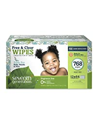 Seventh Generation Free & Clear Baby Wipes, Thick & Strong with Flip Top Dispenser, 768 Count BOBEBE Online Baby Store From New York to Miami and Los Angeles