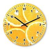 Orange Wooden Wall Clock Silent Non-ticking Wall Clocks Decorative for Living Room Bedrooms Nursery Clock Children Watch