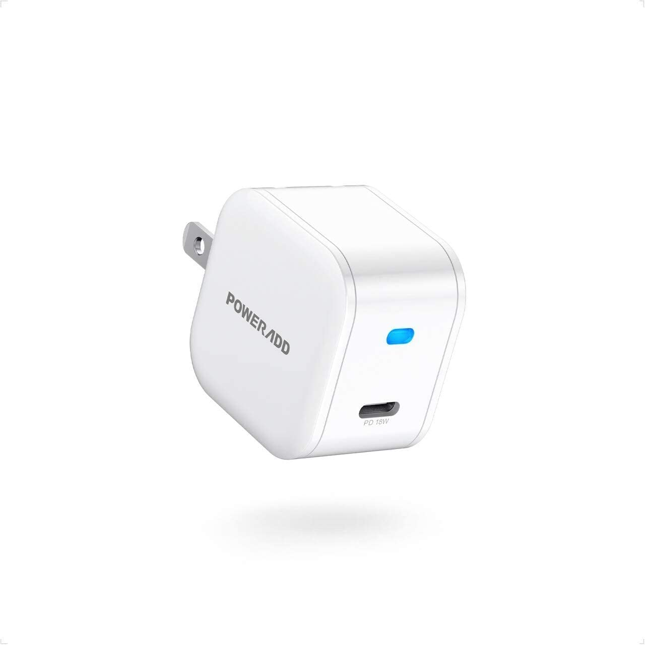 iPhone 12 Charger,POWERADD Power Delivery 18W Fast Wall Charger Power Adapter with Foldable Plug PD Compact Wall Charger Compatible with iPhone 12 11 Pro XR SE iPad AirPods, Pixel, Galaxy and More