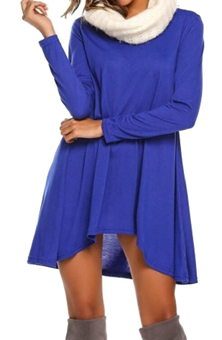 Generic Womens V Neck High Low Pleated Loose Swing Casual Midi Dress
