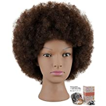 Mannequin Head African American with 100% Human Hair Cosmetology Afro Hair Manikin Head for Practice Styling Braiding