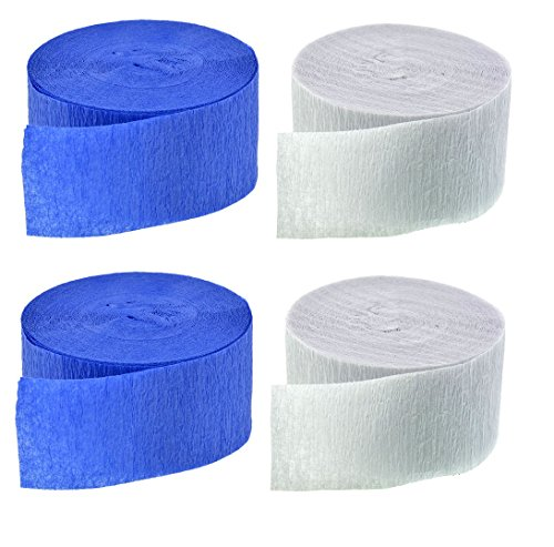 (Blue and White Crepe Paper Streamers (2 Rolls Each Color) MADE IN)