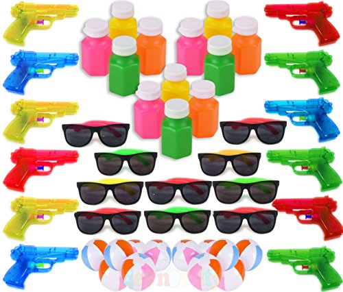 Pool Beach Party Favors Bulk, 48 Pack Kids Summer Fun Toys, Birthday Parties Supplies for Boys Girls, Includes, 12 Water Guns 12 Inflatable Beach Balls 12 Neon Sunglasses 12 Bubbles 4E's Novelty (Pool Mega)