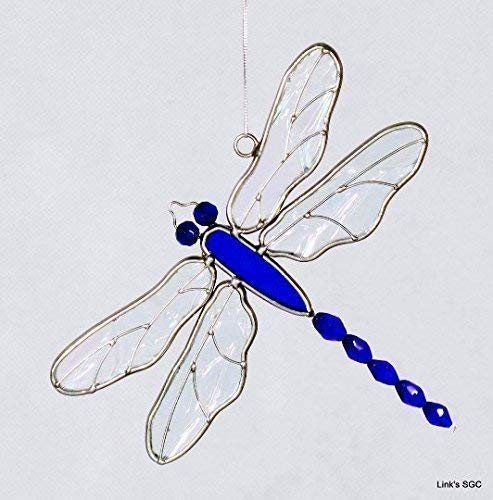 - Stained Glass Beaded Tail Dragonfly Sun Catcher, Blue