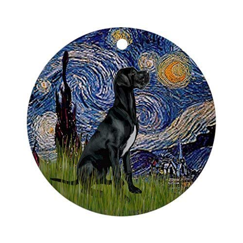 Joanna Starry Night Black Great Dane Ornament (Round) - Round Holiday Christmas Ornament BH577479