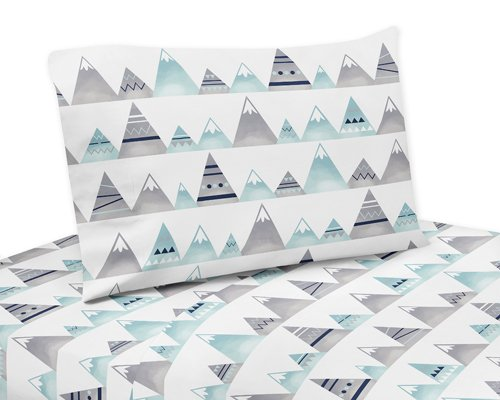 (Sweet Jojo Designs Navy Blue, Aqua and Grey Aztec Twin Sheet Set for Mountains Collection 3 Piece Set)