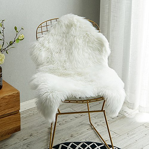 Carvapet Luxury Soft Faux Sheepskin Chair Cover Seat Cushion Pad Plush Fur Area Rugs for Bedroom, 2ft x 3ft, White]()