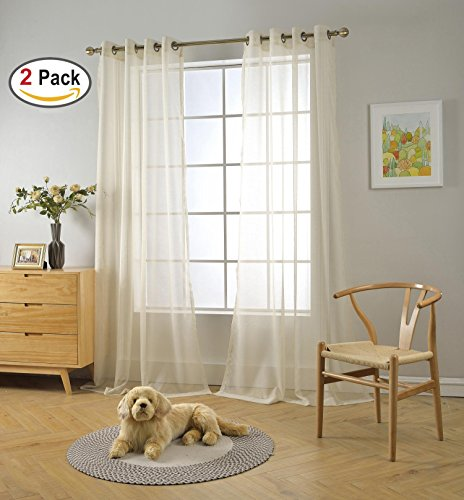 et Textured Solid Sheer Curtains 95 Inches Long for Doors (2 x 54