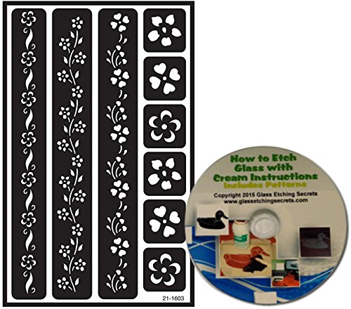 Floral Border Glass Etching Stencils, (Version 2) Reusable + Free How to Etch CD