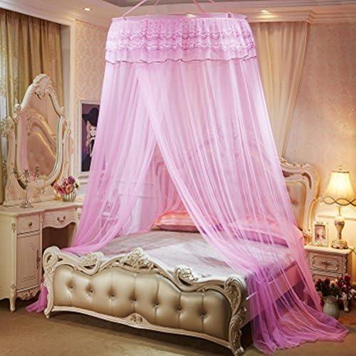 Ciel de Lit Moustiquaire Bébé Double Ado Fille Enfant Princesse Accessoire  Décoration Chambre Dentelle Romantique pr Lit Moins de 2m Rose