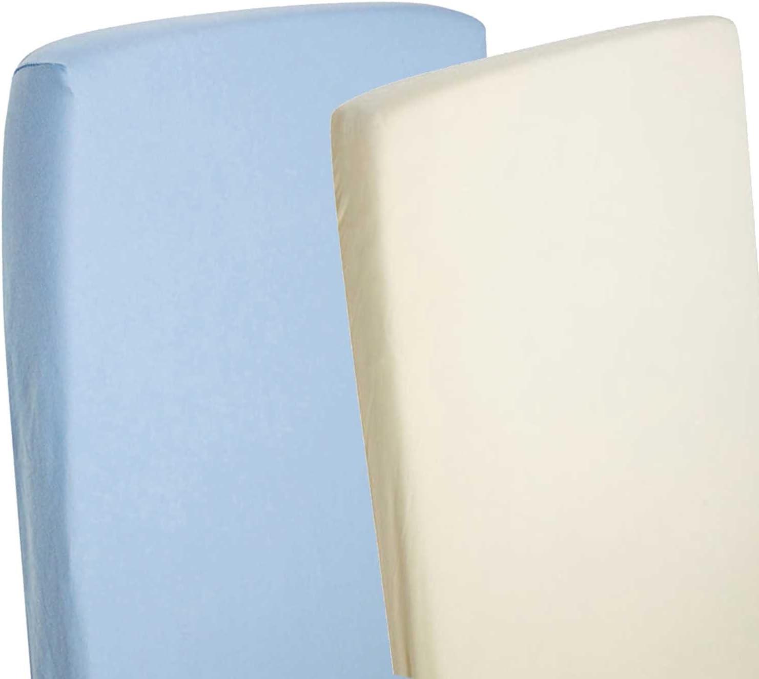 4/X draps-housses Compatible avec Chicco Next 2/Me 100/% coton Bleu//cr/ème
