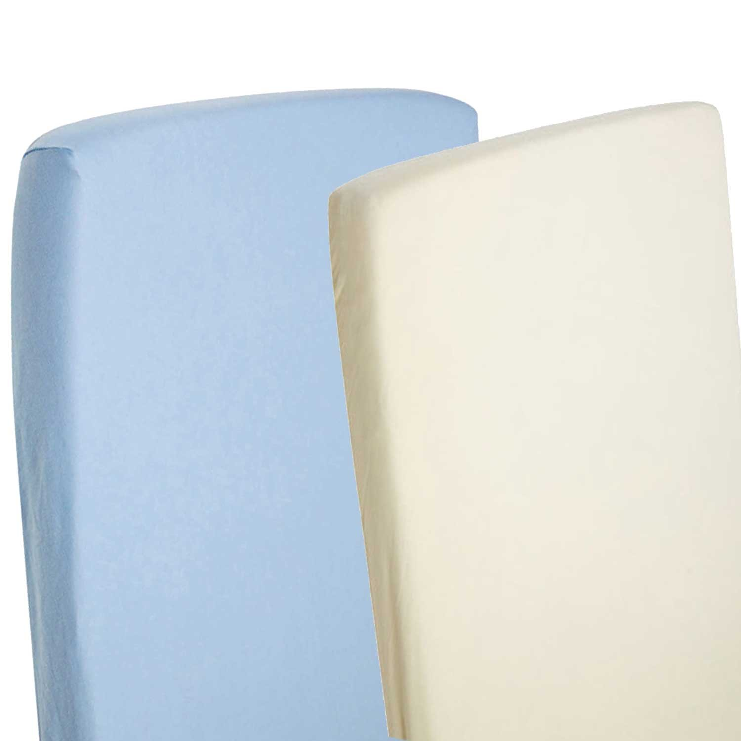 2x Fitted Sheets Compatible With Chicco Next 2 Me 100/% Cotton Blue-By For-Your-Little-One