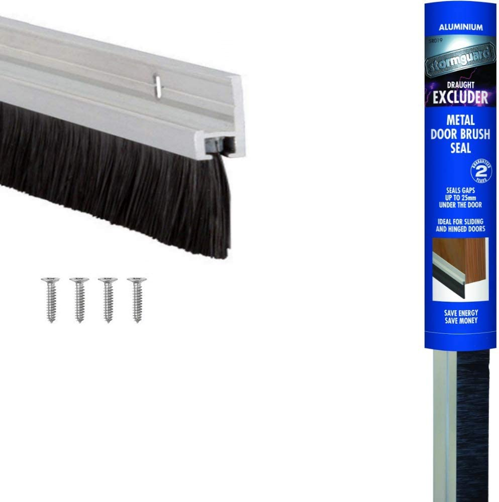 Cepillo para la parte inferior de la puerta, color plata de 914mm/36inches - aluminio