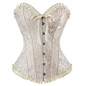 HLGO Lady's Flower Pattern Back Lace Up Adjustable Corset Sexy Bustier for Womens