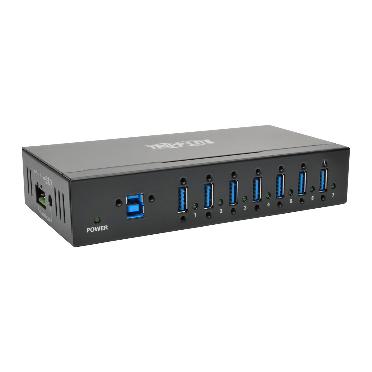 Tripp Lite 7-Port Industrial USB-A 3.0 SuperSpeed Hub with 15KV ESD Immunity, Metal Case, Mountable, USB Type-A (U360-007-IND)