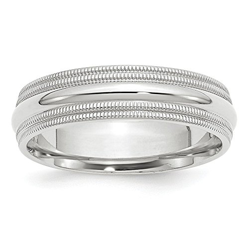 10k White Gold 6mm Double Milgrain Comfort Fit Band Size 11 by Saris and Things