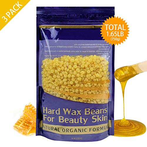 Hard Wax Beans Hair Removal for Women and Men - Stripless Painless Wax Beads Depilatory for Wax Warmer Kit, Smooth Facial and Body Armpits Bikini (250g, 3 Pack, Gold,Honey)