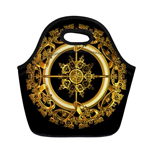 Semtomn Neoprene Lunch Tote Bag Yellow of Elegant Antique Gold Filigree in Circular Shape Reusable Cooler Bags Insulated Thermal Picnic Handbag for Travel,School,Outdoors,Work ()