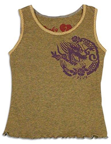 Dinky Souvenir - Little Girls's Dragon Tank Top, Camel Grey -