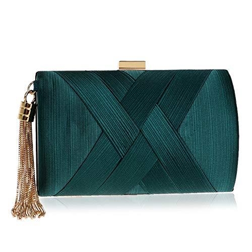 De Or D'embrayage Enveloppe Robe En Vert couleur Sac Mariage Soie Soirée Pochette qvER4