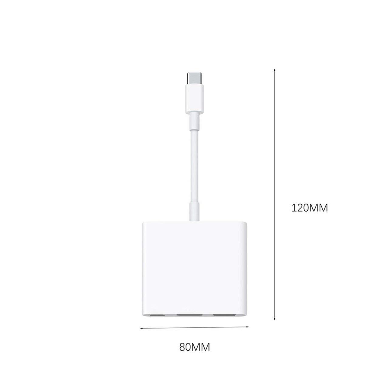 USB-C Digital AV Multiport Adapter with USB Port White Durable for Apple