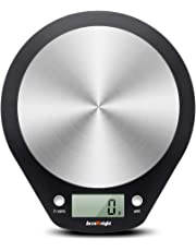 Accuweight Balance de Cuisine Numérique, 5kg/11lb Maximum, Balance Alimentaire Électronique avec Plate-Forme en Acier Inoxydable, Affichage LCD (Piles Fournies), Noir