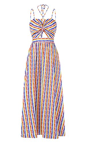 Ferbia Womens Striped Rainbow Spaghetti Strap Backless Tie Knot Party Maxi Dress