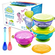 SUPABOWL Stay Put Baby Suction Bowls and Spoons Set with Lids, BPA Free