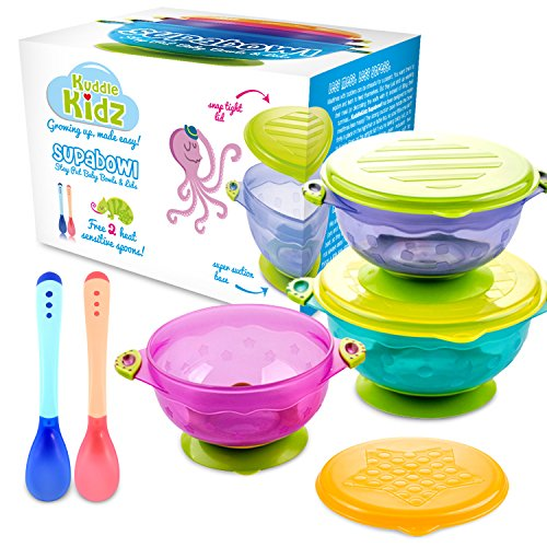 SUPABOWL Stay Put Baby Suction Bowls and Spoons Set with Lids, BPA Free ()